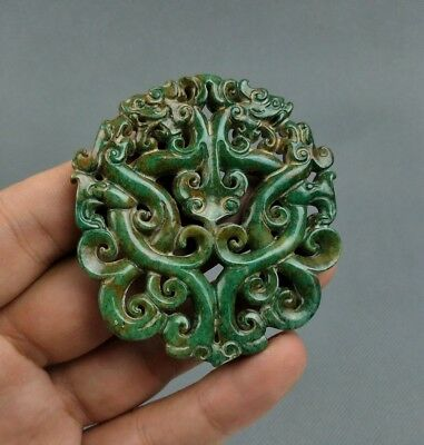 Chinese Collection Old Jade Hand carved Dragon statue pendant C7