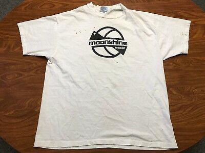 Mens Vintage 90's Moonshine Music White Dj Electronica Dance Music Shirt Size Xl