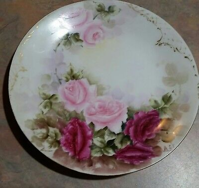 Plate, W.G.A. Limoges of France, handpainted  roses, c.1900, artist signed