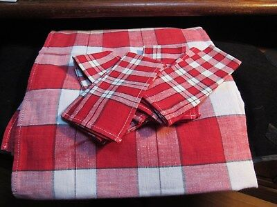 Vintage Red White Plaid Tablecloth Napkins Luncheon Set