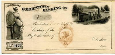 1874    Bordentown Banking Co. Revenue  Bank  Check.