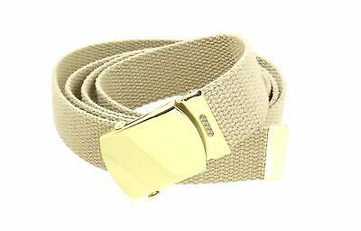 """Canvas Web Belt Military Style with Brass Buckle and Tip 54"""" Long Many Colors"""