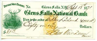 1871 Glenn Falls, New York Revenue Bank  Check .RNB1