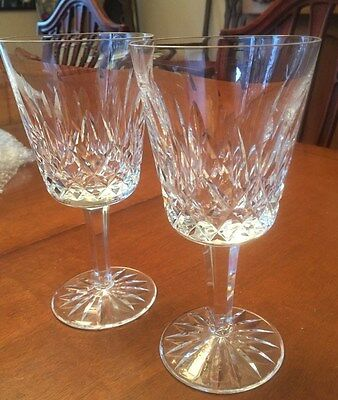 """Waterford Crystal Lismore Pattern Water Glasses Goblets 2 - 6 7/8"""" SIGNED"""