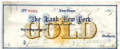 1869 . New York,  Revenue Bank  Check   Gold.  RN B1