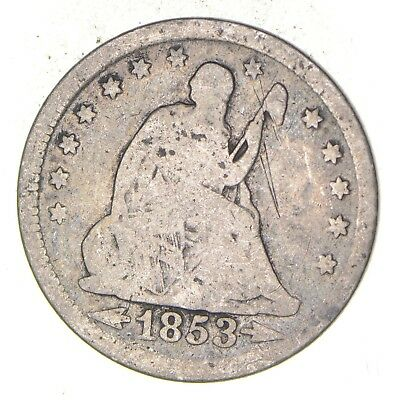 TOUGH - 1853 Seated Liberty Quarter - Early US Type Coin - Historic *210