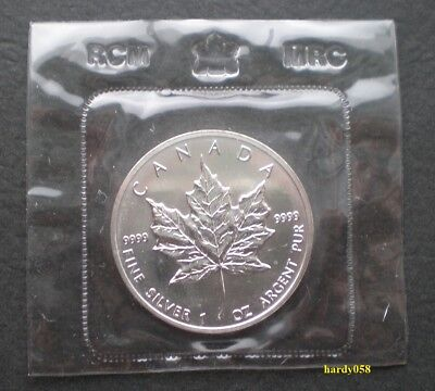 🍁 1990 Canadian Maple Leaf Silver 1 oz Coin - Mint SEALED by RCM