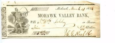 1846. Mohawk,  New York.  Bank Check.