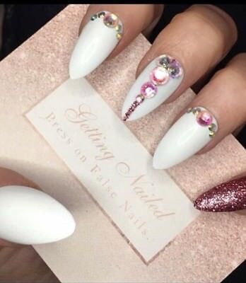 Set Of 20 Hand Painted White And Rose Gold, Jewelled False Nails