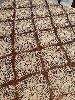 Vintage Crocheted Tablecloth Lace Squares 48x66