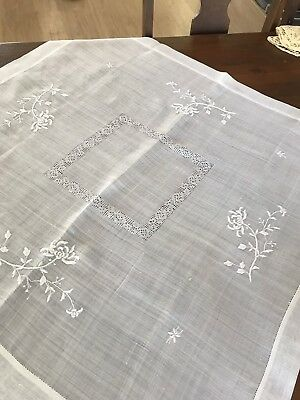 Vintage Sheer White Table Cover Embroidered Flowers 30x32 Bridge Cloth