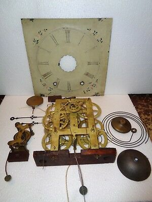 Antique-Ansonia Brass & Copper Co. 8 Day-Weight OG Clock Movt.-To Restore-#T40