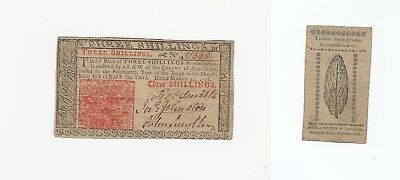 3 25 1776  Original 3 Shillings New Jersey Colonial Currency Really Nice ! # 254
