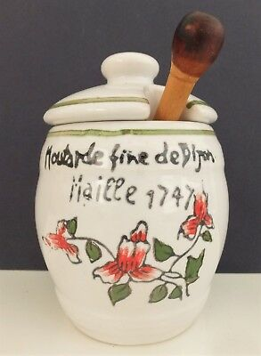 Ceramic French Dijon Mustard Pot with Wooden Spoon