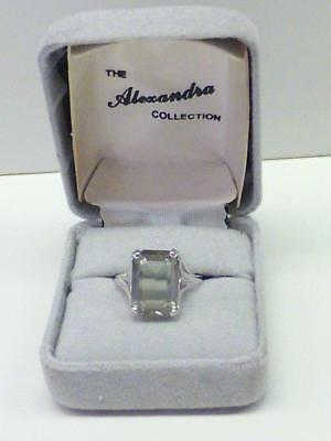 Vintage The Alexandra Collection Smoky Gray Stone Ring Marked A Sterling Silver