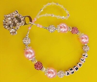 Bling pink crown girls  Crystal Romany Dummy clip custom name