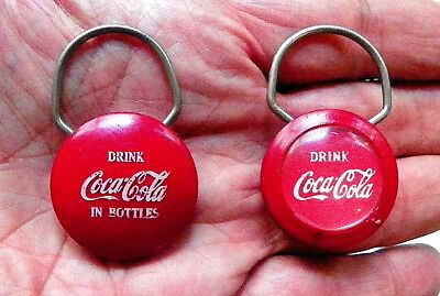 """(Lot Of 2 Different) Early """"drink Coca-Cola"""" Round Red Key-Chains"""
