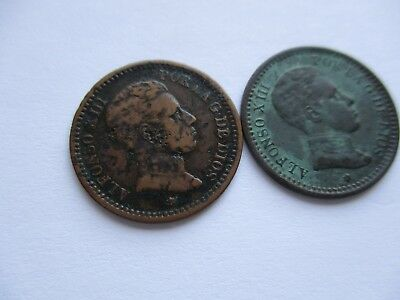 Coins Spain Antiques 1905 1903 Spanish European Set Of 2 Collectibles #872