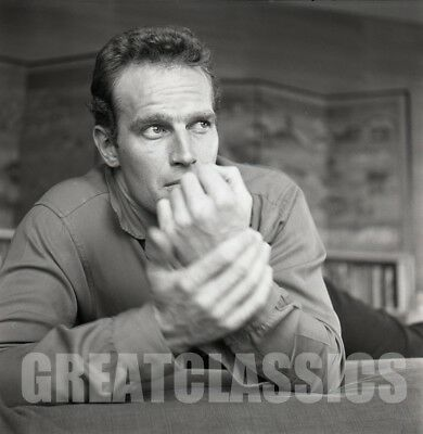 CHARLTON HESTON 1950s AT HOME HANDSOME 2 1/4 CAMERA NEGATIVE PETER BASCH