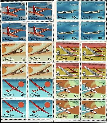 Poland 24 Stamps 6 Block Of 4.   Mnh 1968 Fisch 1699-1704 Gliders  World Cup