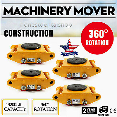 Heavy Duty Machine Dolly Skate Roller Machinery Mover 6 Ton 13200lb Rotation Cap