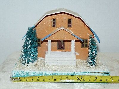 Vtg~Ex Large~Cardboard Xmas House~COCONUT MICA ROOF & BASE~GAMBREL ROOF~Columns