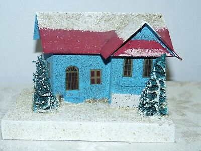 Vtg~Ex Large~Cardboard Xmas House~COCONUT MICA ROOF & BASE~1920-30s~Blue & Red