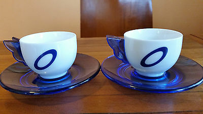 Two Very Cute Guzzini of Italy Small Coffee Cups with Saucers