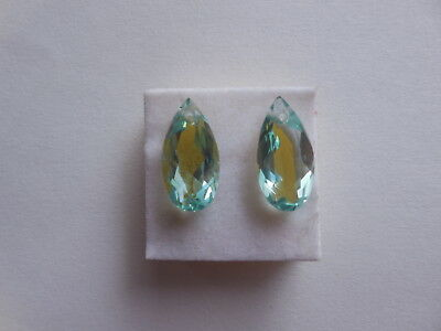 AAA+ 2 Pcs - Top Front To Back Drilled Hydro Aqua Green Quartz Pear Beads 8x16MM