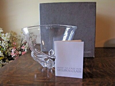 STEUBEN Deep Flower Bowl Large Centerpiece Vintage Signed w/ Bag Box NEAR MINT +