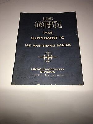 1961 1962 Vintage Ford Lincoln Continental Car Automobile Maintenance Manual