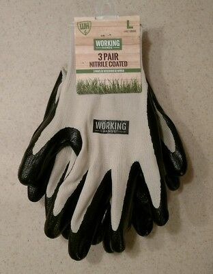 3 Pairs of WORKING HANDS Nitrile Coated Gloves, Latex-Free, Size LARGE