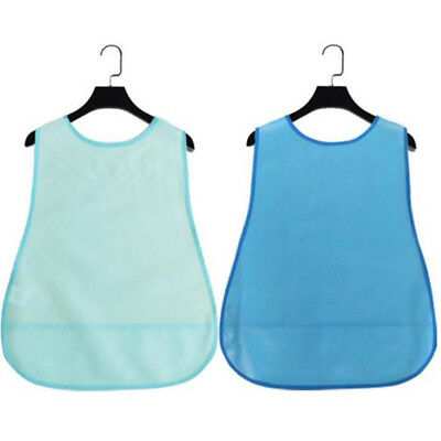 1 Pc Reusable Large Adult Bib with Pocket Clothing Dining Protector Washable