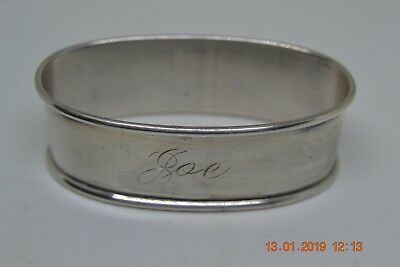 "Antique Solid Sterling Silver Napkin Ring ""joe"" Scrap Or Use 12.8 Grams"