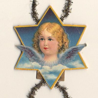 1890s Christmas Scrap Ornament - BLONDE GIRL ANGEL within STAR with Tinsel Loops