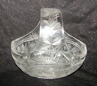 Vintage Clear Pressed Glass Basket-Style Container w Floral Pattern