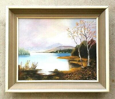 "Vintage Oil on Board Painting ""Autumn Mountain Lake Landscape"" by Doris Craig"