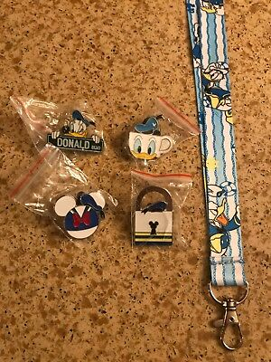 Donald Duck Pin Lot . FREE DONALD LANYARD US SELLER!