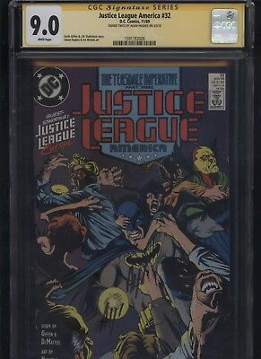 Justice League America #32 CGC 9.0 SS Adam Hughes 1989 of BATMAN