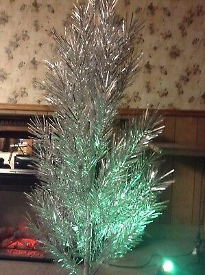 Aluminum 6' Silver Christmas Tree With Stand &  Color Wheel