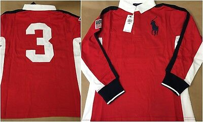 NEW Boys Ralph Lauren Cotton Jersey Rugby Shirt Long Sleeve S M L Red Big Pony