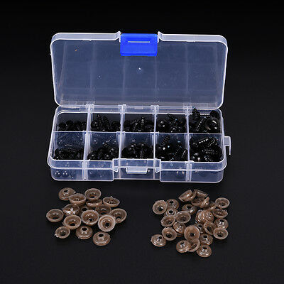 100pcs 6-12mm Black Plastic Safety Eyes For TeddyBear Doll Animal Craft Toy FB