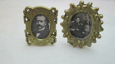 Dollhouse Miniature 2 Gold Toned Metal Table Frames with Old fashioned Pictures