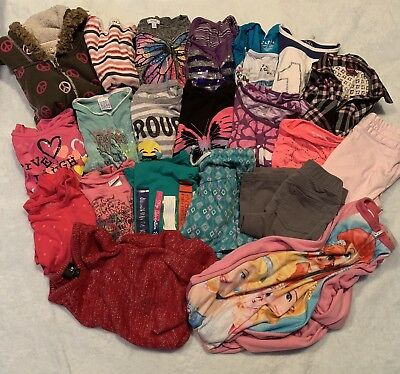 Girls Size 7/8 21 Pc Mixed Clothing Lot Tops, Bottoms, PJ's And More!