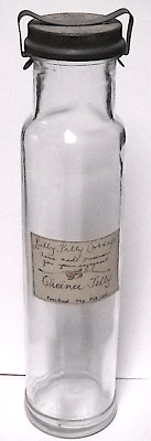 TALL NARROW FOWLER'S NO 19 FRUIT JAR WITH LILLY PILLY COTTAGE LABEL, 1940s