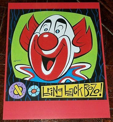 BOZO THE CLOWN 8.5x11 PRINT By PATRICK OWSLEY! BOZO'S CIRCUS WGN CHICAGO TV SET!