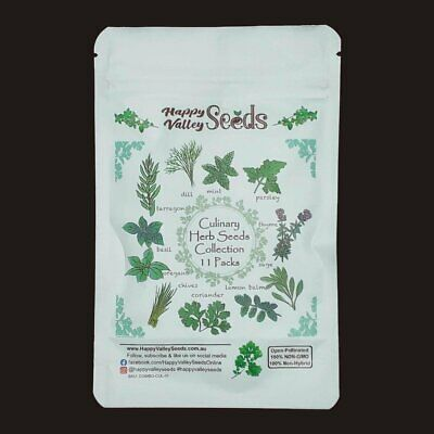 Herb Seeds Mint Parsley Chives Lemon Grass Dill Basil Coriander Sage Thyme 11pks