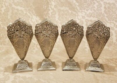 Lot of 4 Vintage Art-Nouveau Silver Metal Fan Shaped Vases Stands with Pedestal
