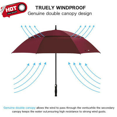 Extra Large Double-canopy Windproof Waterproof Automatic Open Golf Umbrella AU