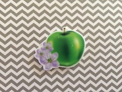 5pc Green Apple resin Fruit, cabochon, charm, bow center, jewelry